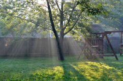 Rays of sunshine stream into a backyard. The sun's rays light up a backyard with a swingset on a beautiful summer morning Royalty Free Stock Image