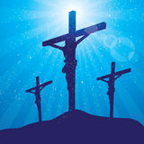 Rays three crosses at night. Silhouette of crucifixion with rays and stars behind Royalty Free Stock Photography