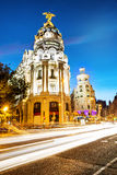 Rays of traffic lights in Madrid. Central position by night in madrid city, Spain Royalty Free Stock Image