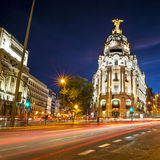 Rays of traffic lights in Madrid. Central position by night in madrid city, Spain Royalty Free Stock Photos