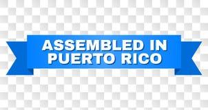Rayure bleue avec RÉUNI DANS PUERTO RICO Caption illustration stock