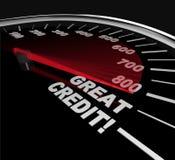 Rayures de crédit grandes - numéros sur l'indicateur de vitesse illustration stock