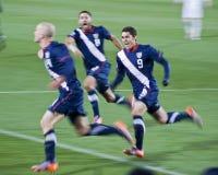 Rayures des Etats-Unis égalisant le but - carte de travail 2010 de la FIFA Photo stock