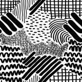 Rayures et Dots Vector Seamless Pattern tirés par la main complexes Photos libres de droits