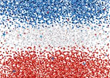 Rayures horizontales Backgound de confettis bleus, blancs et rouges Drapeau abstrait de disposition de confettis illustration libre de droits