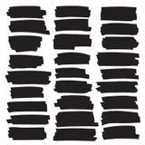 Rayures noires de point culminant, bannières dessinées avec des marqueurs illustration de vecteur