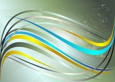 Rayures onduleuses jaunes et bleues brillantes sur un fond vert Image libre de droits