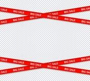 Rayures rouges de restriction de vente de vecteur, zone de remise illustration stock