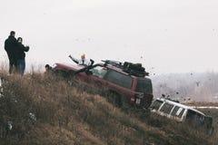 Raza campo a través Fotos de archivo libres de regalías