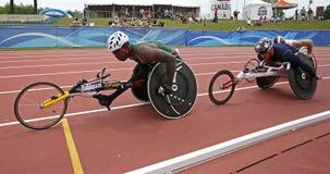 Raza Canadá de los atletas de la silla de ruedas foto de archivo libre de regalías