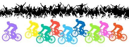 Raza de bicicleta Muchedumbre de fans, silueta Bandera del acontecimiento deportivo ilustración del vector