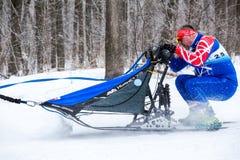 Raza de la competencia del invierno de la nieve el competir con de perro de trineo Foto de archivo