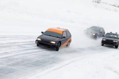 Raza de la pista del hielo del invierno Foto de archivo libre de regalías