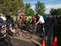 Raza de los ciclistas Imágenes de archivo libres de regalías