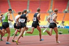 Raza de los hombres en la arena deportiva magnífica de Luzhniki Fotografía de archivo libre de regalías