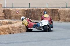 Raza del coche lateral de la motocicleta en Ostende Bélgica Fotos de archivo libres de regalías