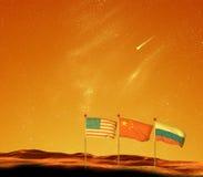 Raza del espacio al ejemplo rojo del planeta de Marte Fotos de archivo libres de regalías
