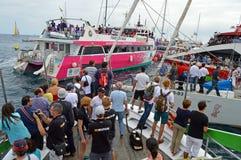 Raza 2014 - 2015 del océano de Volvo un atasco Imagen de archivo libre de regalías
