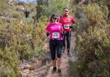 Raza dura de la montaña del maratón, subiendo Fotos de archivo libres de regalías
