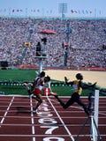 Raza olímpica de 100 metros imagen de archivo libre de regalías