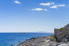 Razanj Croatia. Beautiful nature and landscape photo of Adriatic Sea. Lovely outdoors image of warm sunny autumn day at ocean. Nice colorful blue sky and water royalty free stock photos