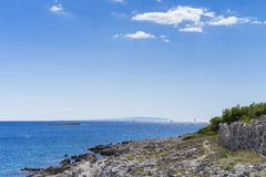 Razanj Croatia. Beautiful nature and landscape photo of Adriatic Sea. Lovely outdoors image of warm sunny autumn day at ocean. Nice colorful blue sky and water royalty free stock images