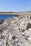 Razanj Croatia. Beautiful nature and landscape photo of rocky coast line. Lovely outdoors image of warm sunny autumn day at Adriatic Sea. Nice colorful blue royalty free stock photos