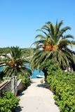 Razanj - small Croatian town. Popular tourist destination on the Dalmatian coast in Croatia. Path to the sea Royalty Free Stock Image