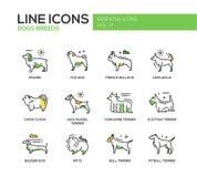 Razas del perro - línea iconos del diseño fijados Imagen de archivo libre de regalías