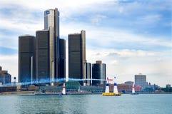 Razas Detroit céntrica del aire de Red Bull Foto de archivo libre de regalías