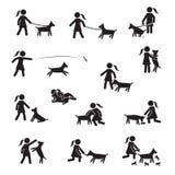 Razas grandes del perro con el sistema del icono de las muchachas Vecor libre illustration