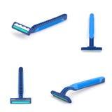 Razor. Blue razor isolate on white background royalty free stock photo