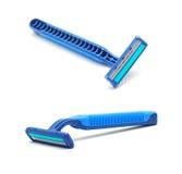 Razor. Blue razor isolated on white stock photography