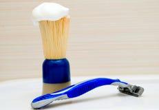 Razor And Shaving Brush Stock Image