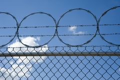 Razor and Barb Wire on top of Chain Link fence Royalty Free Stock Images