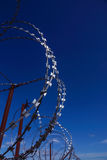 Razor Barbed wire against blue sky Stock Images