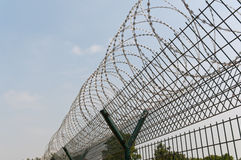 Razor Barbed Wire Security. High Security Razor wire againsted blue sky Royalty Free Stock Photography