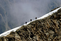On a razor-blade. On sharp, as a razor-blade, to the comb of mountain, alpinists accomplish an ascent on a difficult of access top Stock Photo