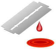 Razor blade dripping blood Royalty Free Stock Photos