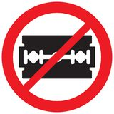 Razor blade not allowed Royalty Free Stock Photo