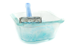 Razor blade and shave gel, foam Stock Photo