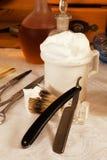 Razor blade and soap Stock Photography
