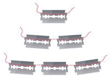 Razor blades - cdr format. Razor blades with  a red cord Royalty Free Stock Photography