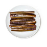 Razor Clams. Plate of Raw Razor Clams isolated on a white studio background Stock Photos