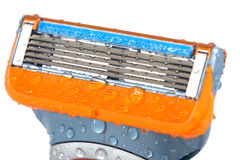 Razor Cleaning. With water drops on isolated Royalty Free Stock Photography