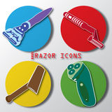 Razor on color circle Royalty Free Stock Images
