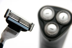 Razor and electric razor Stock Photo