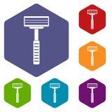 Razor icons set hexagon Royalty Free Stock Photo