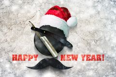 Razor on a plate for foam with a Santa Claus hat on a gray background. Inscription Happy New Year. Greeting card Happy stock illustration