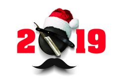 Razor on a plate for foam with a Santa Claus hat on a white background. Inscription 2019. Greeting card Happy New Year vector illustration